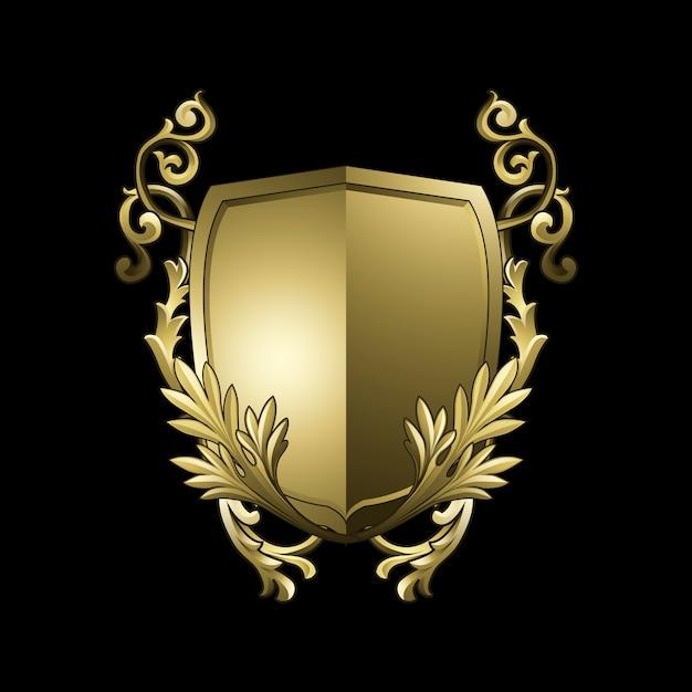 Złoty barokowy tarcza elementów wektor
