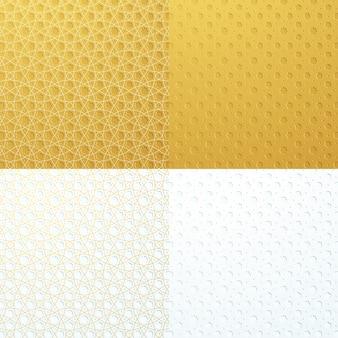Złoty biały luksusowy zestaw kolekcji islamskich wzorów geometrycznych