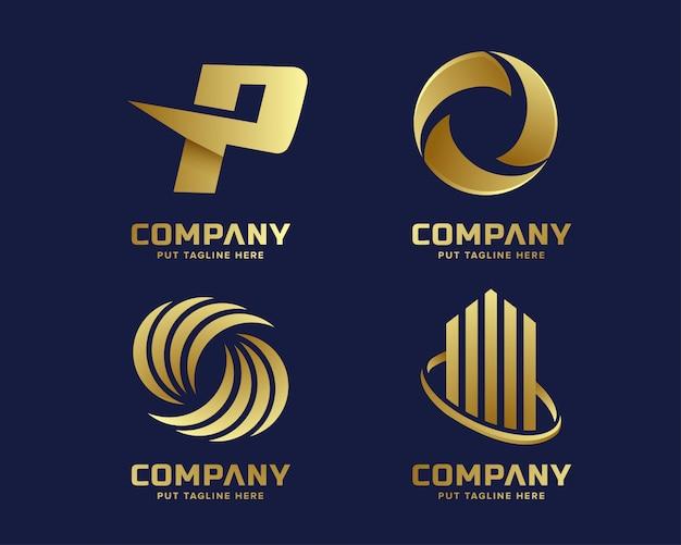 Złoty biznes luksus i elegancki szablon logo o abstrakcyjnym kształcie