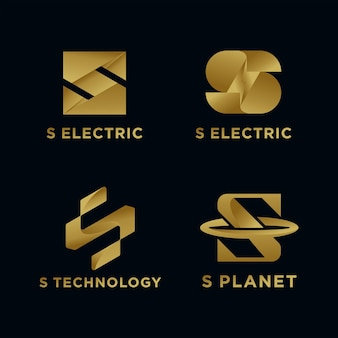 Złoty biznes luksusowy i elegancki początkowy szablon logo s