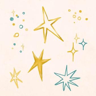 Złoty blask efekt naklejki ilustracja wektor zestaw