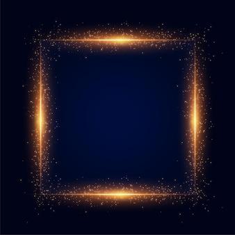 Złoty blask kwadratowy tło ramki