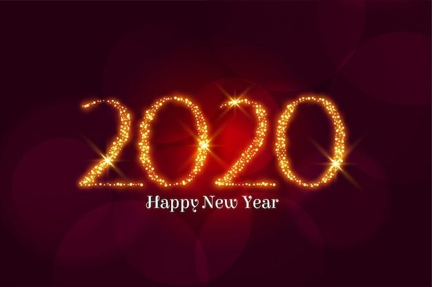 Złoty blask szczęśliwego nowego roku 2020 pozdrowienia
