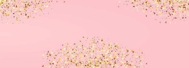 Złoty blask sztuki panoramiczny różowym tle. błyszczące cekiny zaproszenie.
