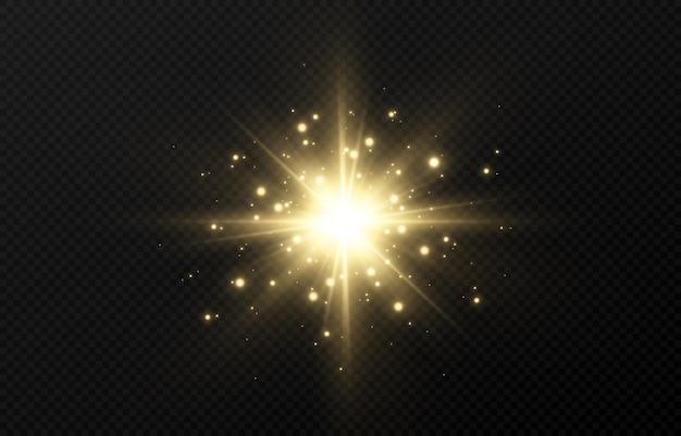 Złoty błysk światła z iskierkami