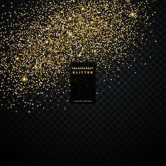 Złoty błyskotliwość cząstek pyłu przezroczystym tle