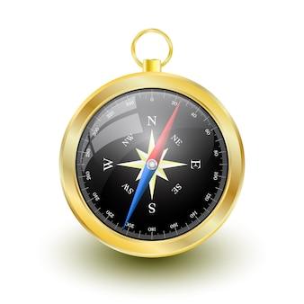 Złoty błyszczący kompas z różą wiatrów.