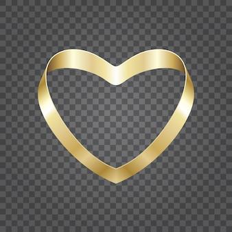 Złoty błyszczący kształt serca ze wstążki na przezroczystym tle. łatwe do wymiany tło.