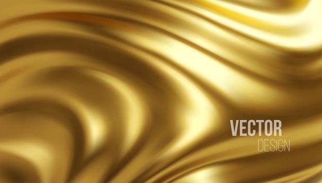 Złoty błyszczący płyn fale 3d realistyczne tło.