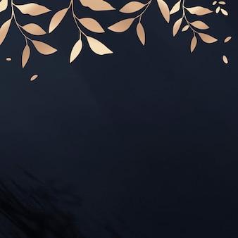 Złoty błyszczący szablon reklam społecznościowych z liściastą ramką