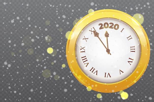 Złoty błyszczący zegarek z odliczaniem do nowego roku 2020