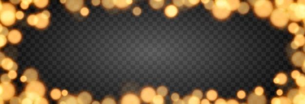 Złoty bokeh na izolowanym przezroczystym tle efekt świetlny png rozmazany bokeh png bokeh rama