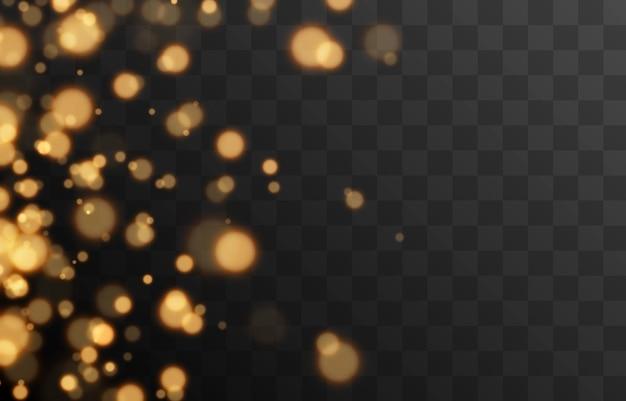 Złoty bokeh na izolowanym przezroczystym tle efekt świetlny png rozmazany bokeh png