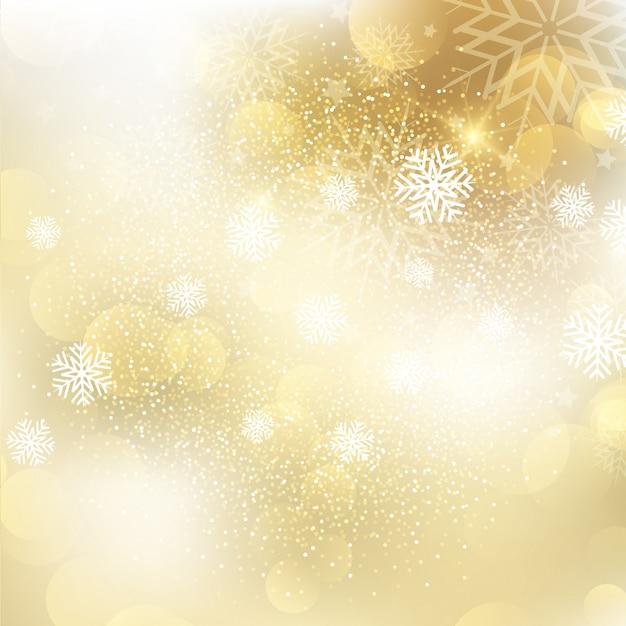 Złoty bożenarodzeniowy płatka śniegu tło