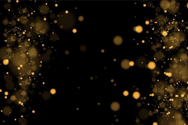 Złoty brokat. cząsteczki kurzu.