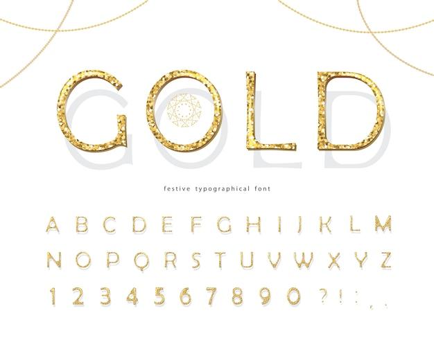 Złoty brokat czcionki 3d.