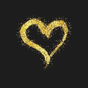 Złoty brokat doodle serca na ciemnym tle. złoto ręcznie rysowane serca. symbol miłości romantycznej. ilustracja wektorowa.