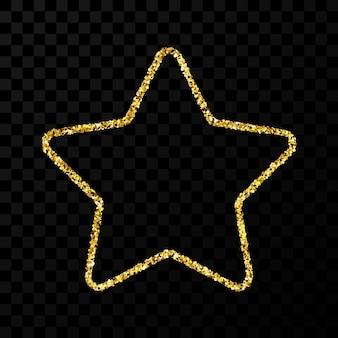 Złoty brokat gwiazda z błyszczącymi iskierkami na ciemnym przezroczystym tle. ilustracja wektorowa