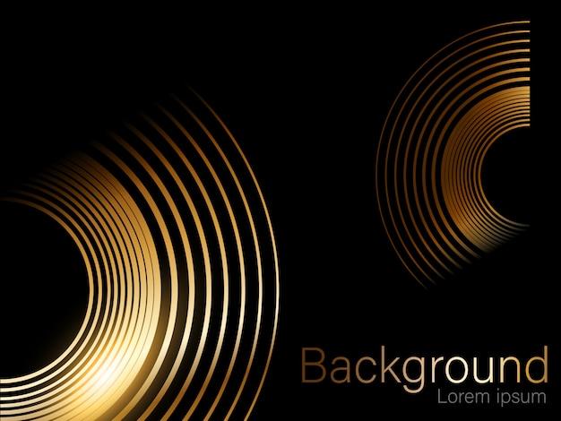 Złoty brokat, koło pędzla, oddzielne na czarnym tle złoty