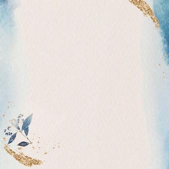 Złoty brokat niebieska ramka