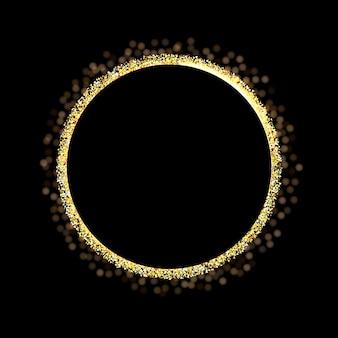 Złoty brokat pierścionek na czarnym tle.