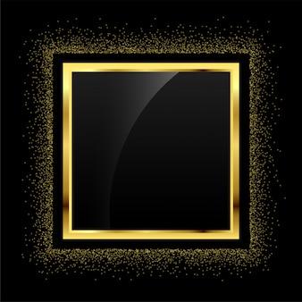 Złoty brokat pusty rama tło