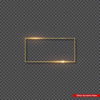 Złoty brokat rama ze świecącymi światłami.
