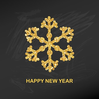 Złoty brokat śnieżynka szczęśliwego nowego roku kartkę z życzeniami na zaproszenie, baner, kalendarz