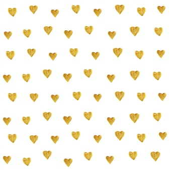 Złoty brokat wzór serca bez szwu.
