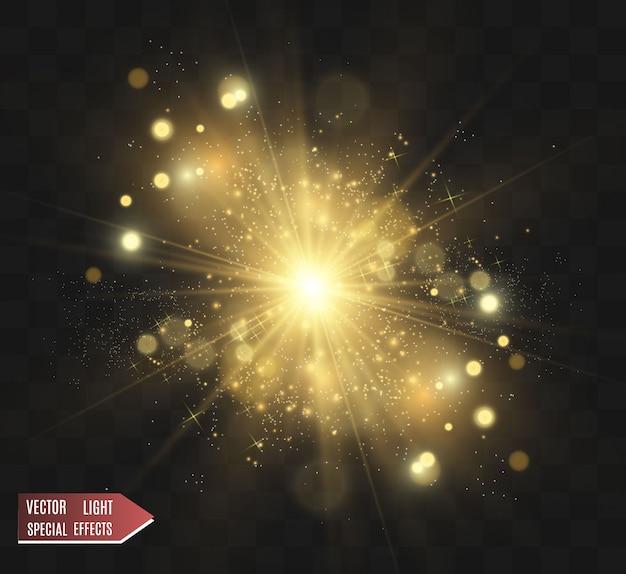 Złoty Brokat Z Błyszczącą Złotą Ramką Na Przezroczystym Czarnym Tle. Luksusowy Złoty Tło Wektor. Premium Wektorów