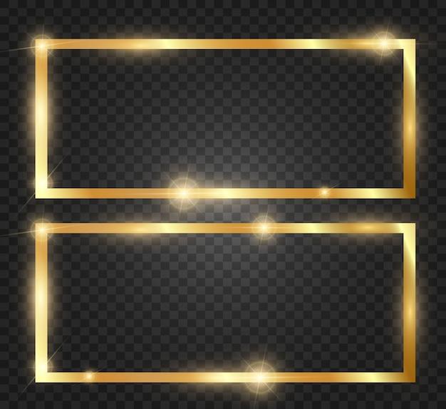 Złoty Brokat Z Błyszczącą Złotą Ramką Na Przezroczystym Czarnym Tle. Premium Wektorów