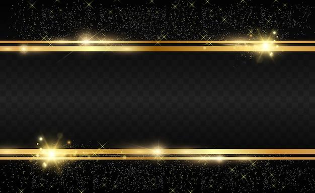 Złoty brokat z błyszczącą złotą ramką na przezroczystym czarnym tle