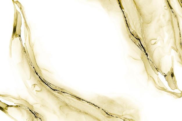 Złoty brokatowy atrament alkoholowy i tło akwareli