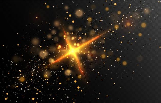 Złoty brokatowy pył na ciemnym tle z odblaskami i efektami świetlnymi