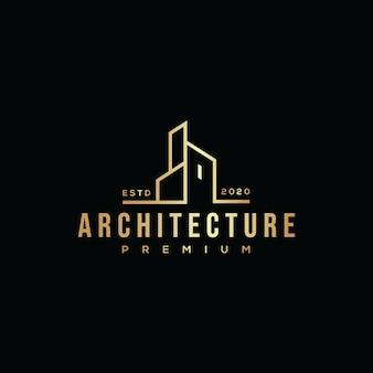 Złoty budynek architektura logo hipster retro vintage premium
