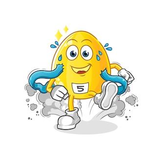 Złoty charakter biegacza jaj. kreskówka maskotka