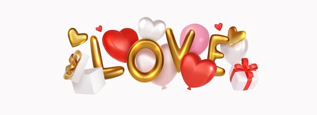 Złoty chromowany list miłosny z balonami i realistycznym pudełkiem prezentowym