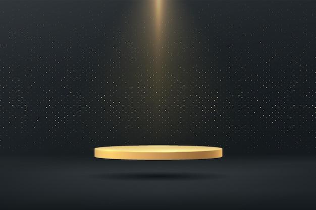 Złoty cokół unoszący się w powietrzu z reflektorem błyszczący złoty brokat minimalny 3d