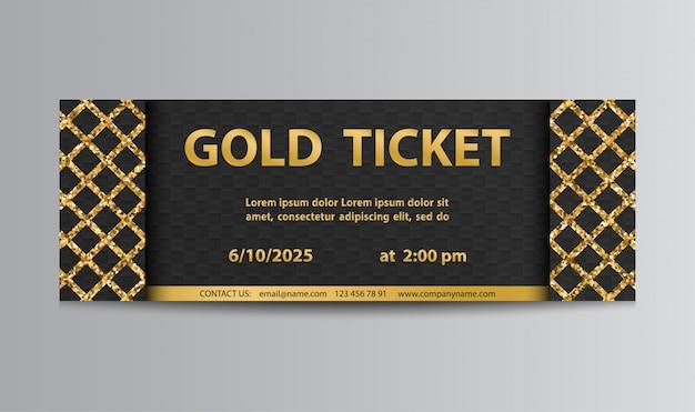 Złoty czarny bilet z kratką