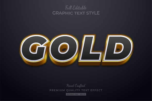 Złoty, czarny, edytowalny styl czcionki efektu tekstowego