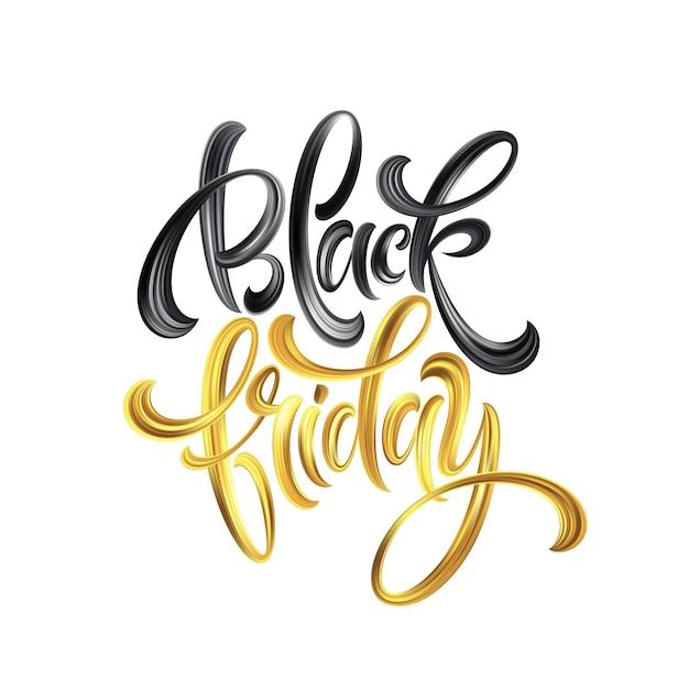 Złoty czarny piątek sprzedaż kaligrafia napis. ilustracja wektorowa eps10