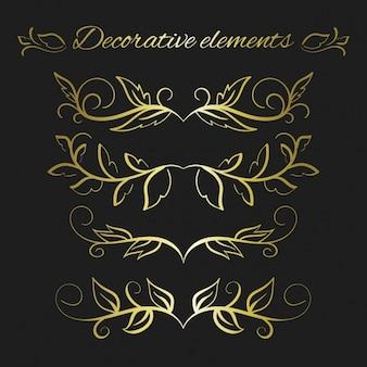 Złoty dekoracyjne liście kolekcji
