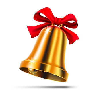 Złoty dzwonek bożonarodzeniowy z czerwoną wstążką