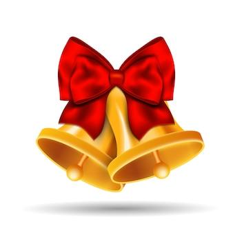 Złoty dzwonek ozdobiony czerwoną kokardką. ilustracja.