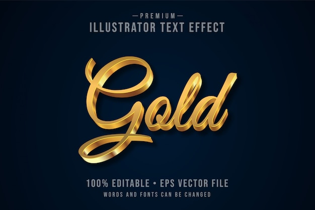Złoty edytowalny efekt tekstowy 3d lub styl graficzny z metalicznym gradientem