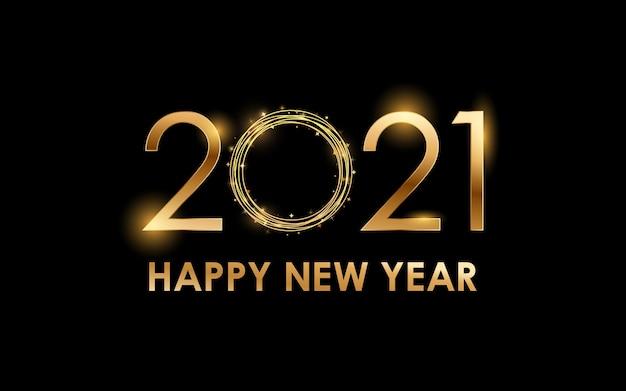Złoty efekt czcionki szczęśliwego nowego roku 2021 ze świecącym światłem