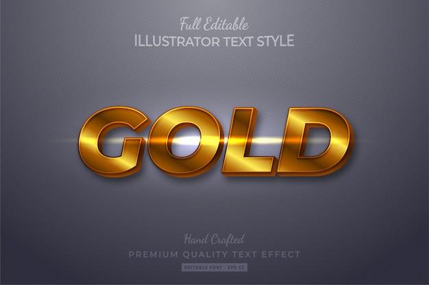 Złoty efekt edytowalnego stylu tekstu 3d premium