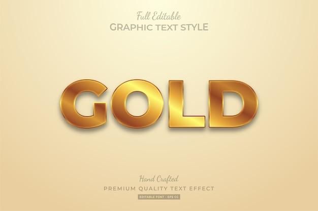 Złoty efekt edytowalnego stylu tekstu