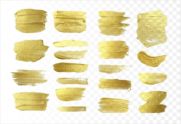 Złoty efekt pociągnięcia pędzla na białym tle. streszczenie tekstura złoto świecidełka