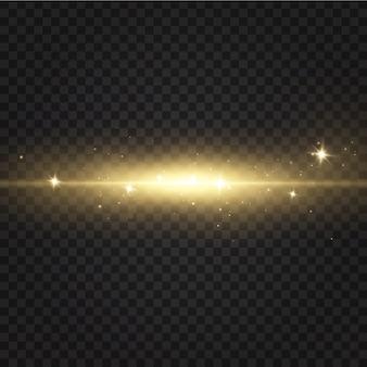 Złoty efekt świetlny. streszczenie wiązki światła laserowego. chaotyczne neonowe promienie światła.